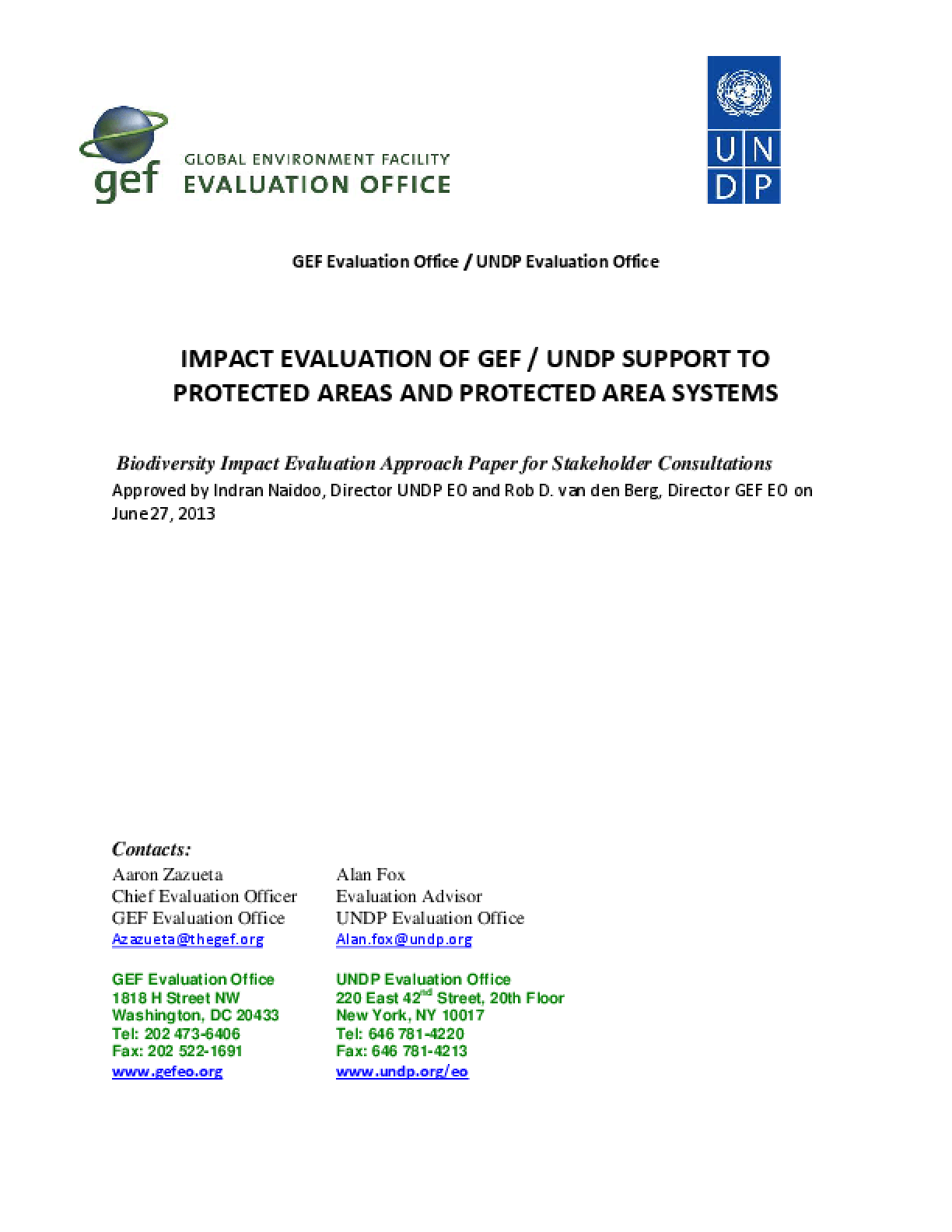 Impact Evaluation of GEF/UNDP Support to Protected Areas and Protected Area Systems