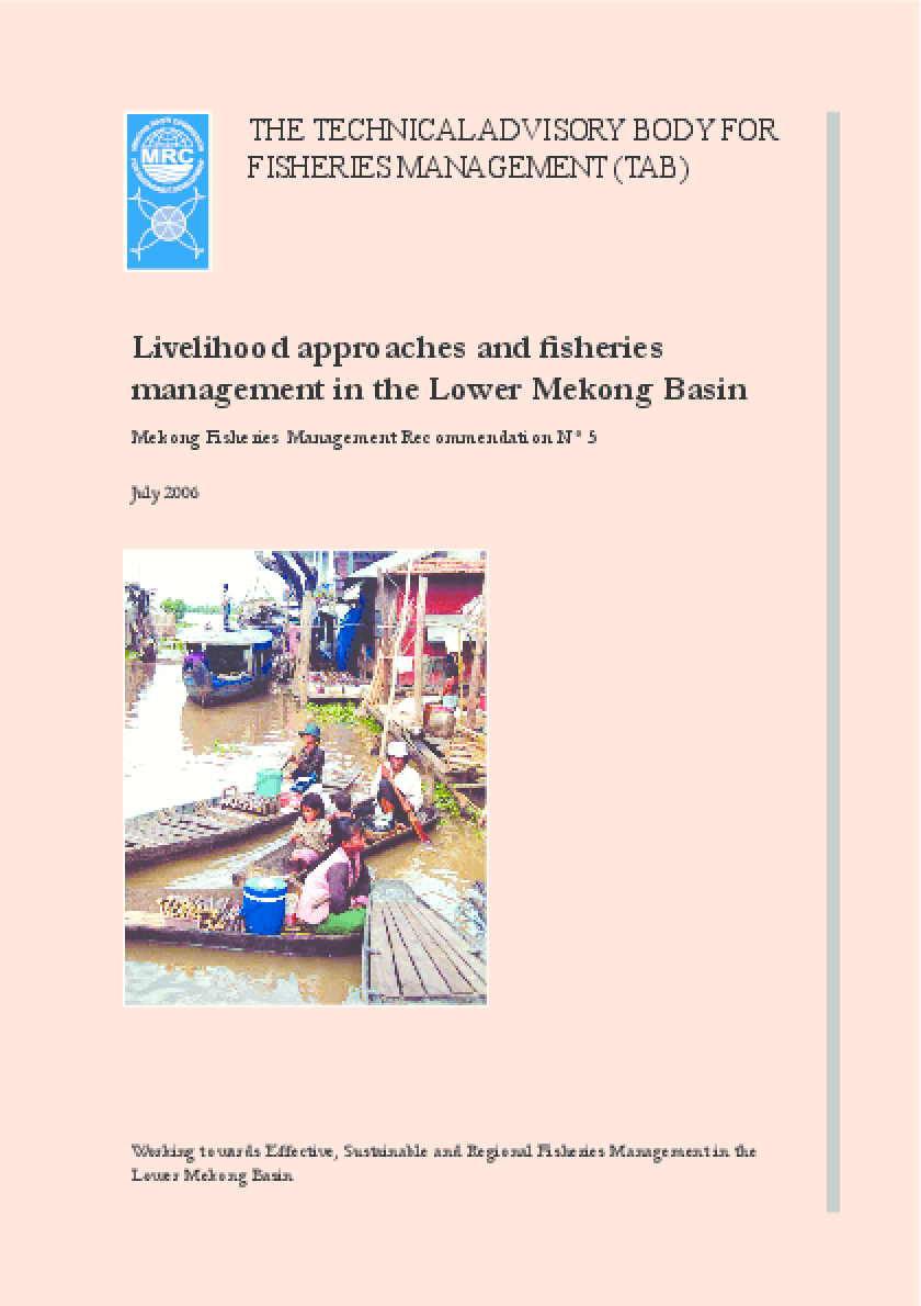 Livelihood Approaches and Fisheries Management in the Lower Mekong Basin