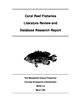 Coral Reef Fisheries Literature Review and Database Research Report, Final Technical Report