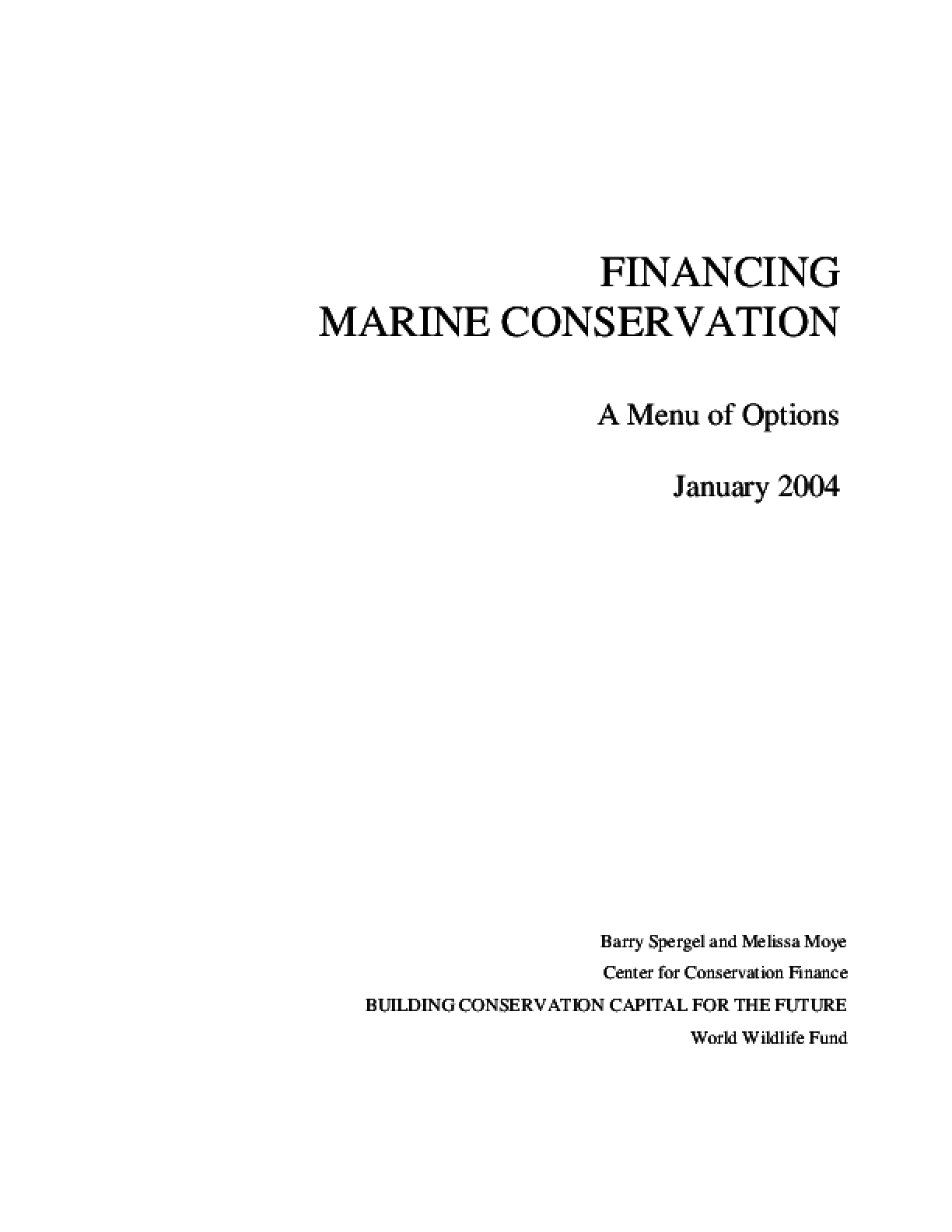 Financing Marine Conservation: A Menu of Options