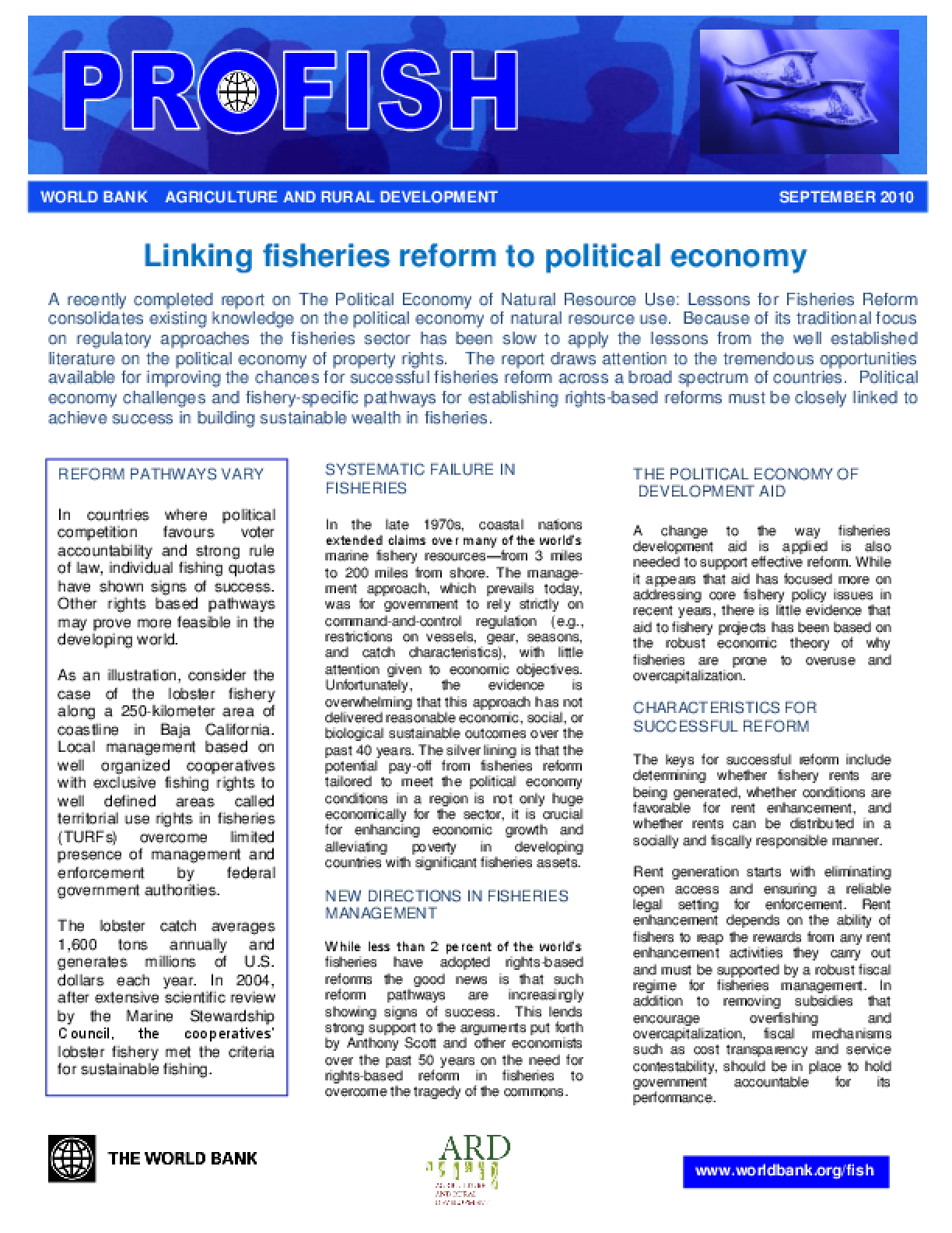 Linking Fisheries Reform to Political Economy, Summary