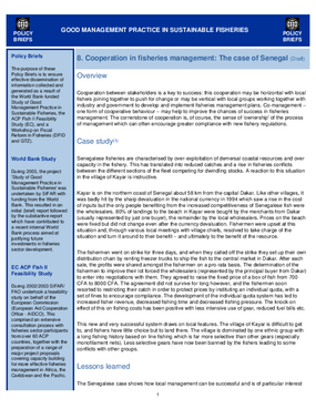 Good Management Practice in Sustainable Fisheries: Cooperation in Fisheries Management, the Case of Senegal (Draft)