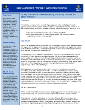 Good Management Practice in Sustainable Fisheries: Key Concepts II, Fisheries Policy, the Policy Process and Policy Analysis