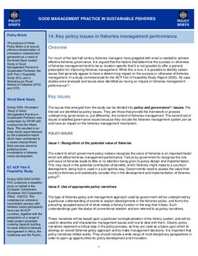 Good Management Practice in Sustainable Fisheries: Key Policy Issues in FIsheries Management Performance