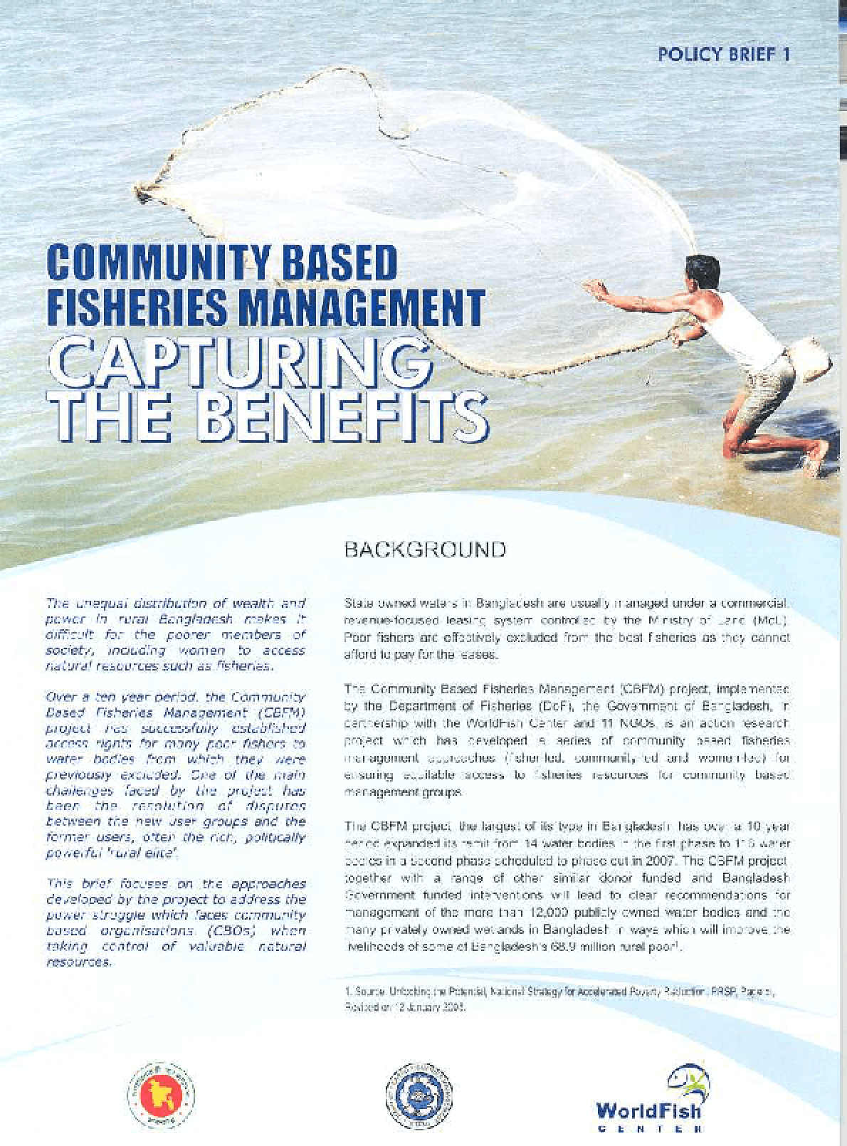 Community Based Fisheries Management: Capturing the Benefits