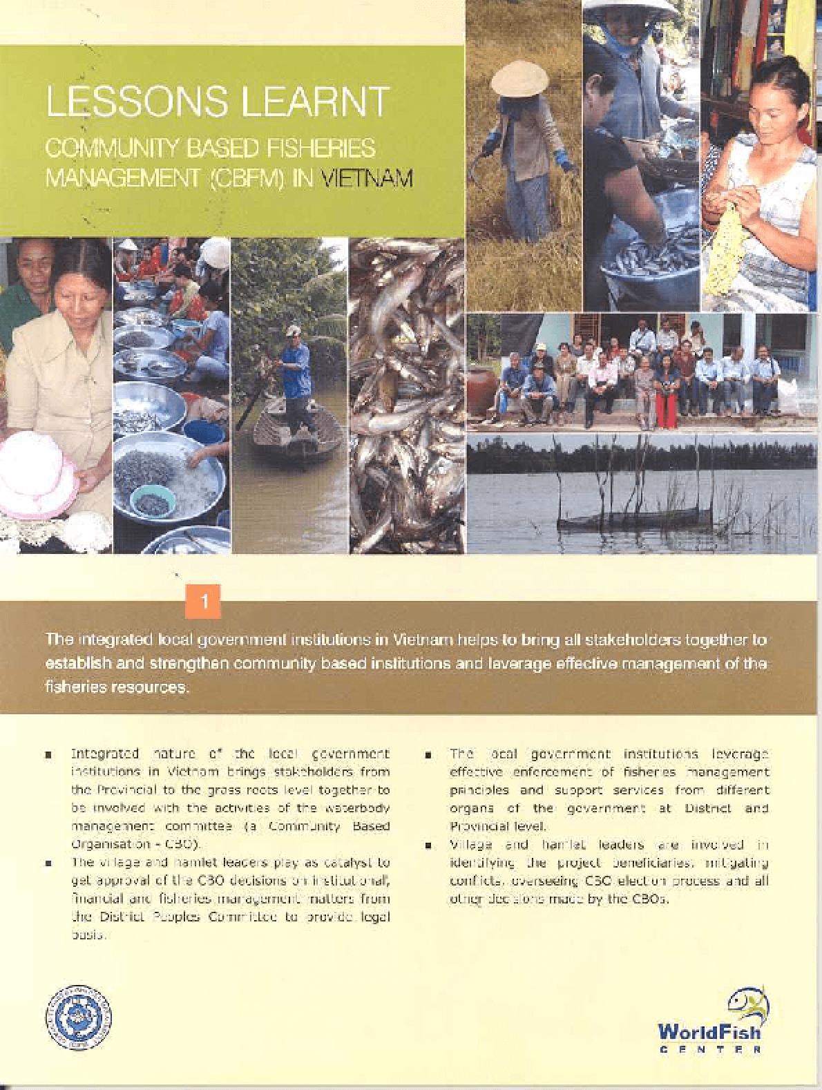 Lessons Learnt: Community Based Fisheries Management (CBFM) in Vietnam