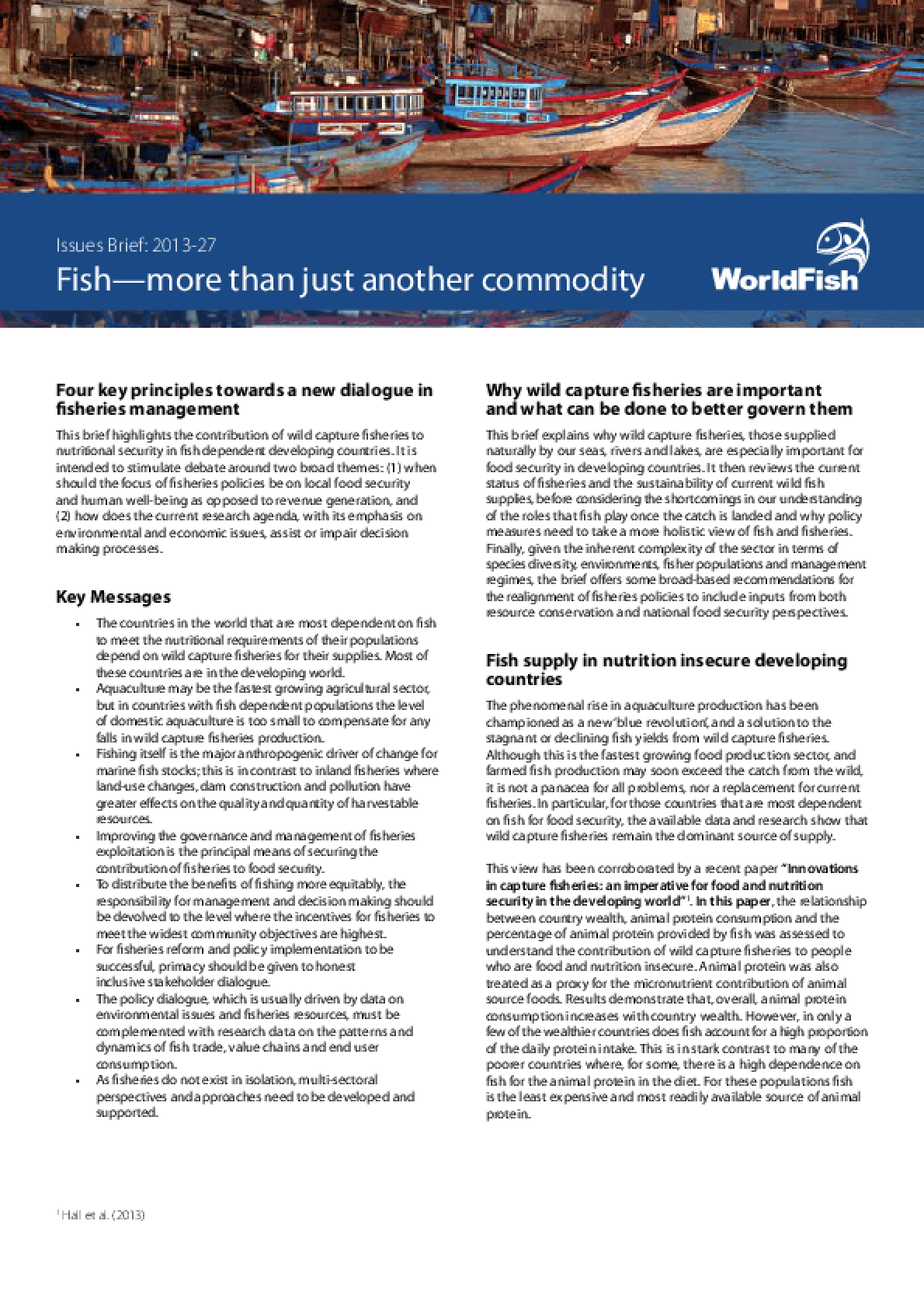 Fish -- More Than Just Another Commodity