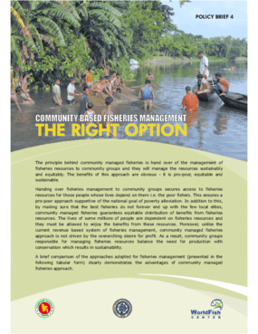 Community Based Fisheries Management: The Right Option