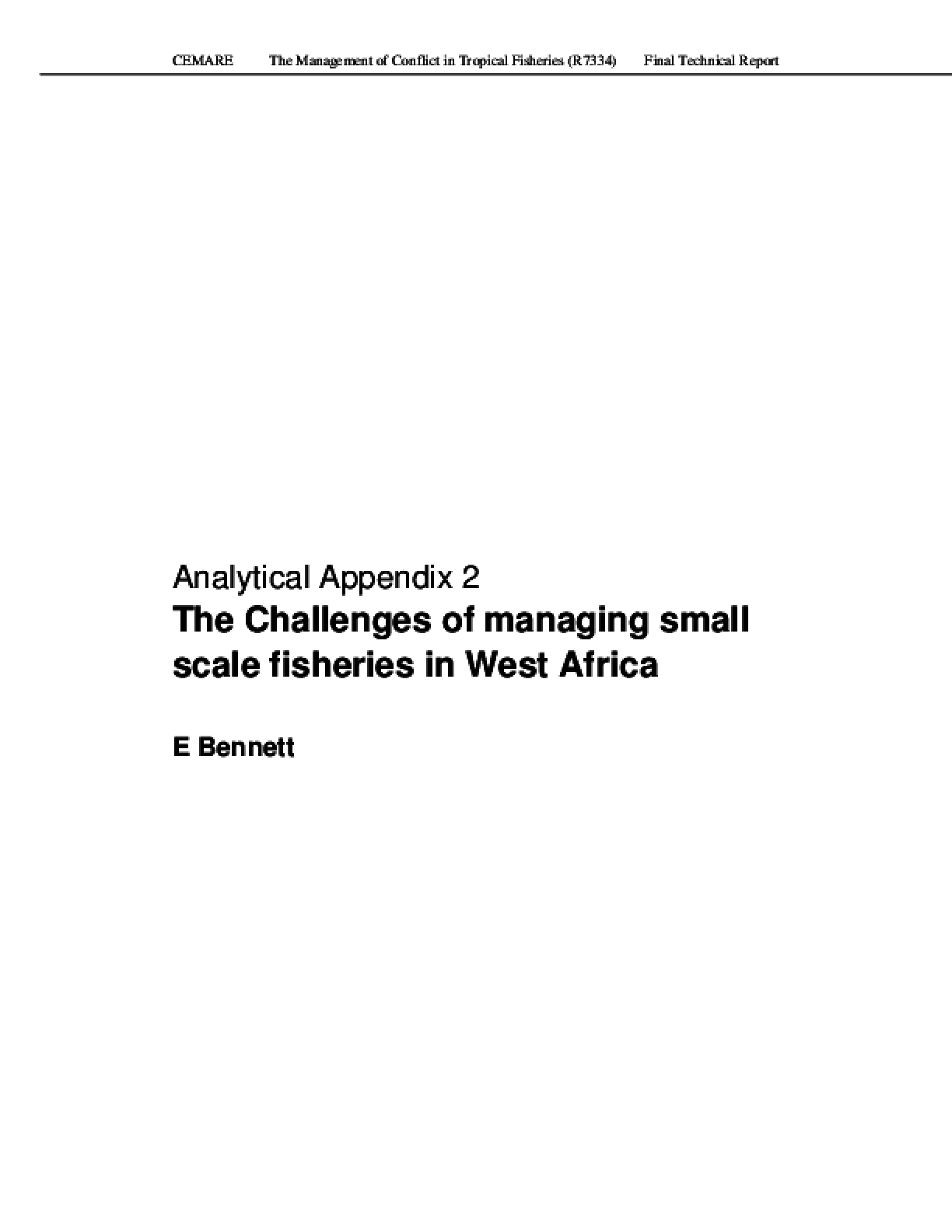 Analytical Appendix 2: The Challenges of Managing Small Scale Fisheries in West Africa