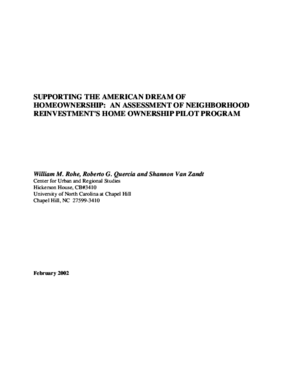 Supporting the American Dream of Homeownership: An Assessment of Neighborhood Reinvestment's Home Ownership Pilot Program
