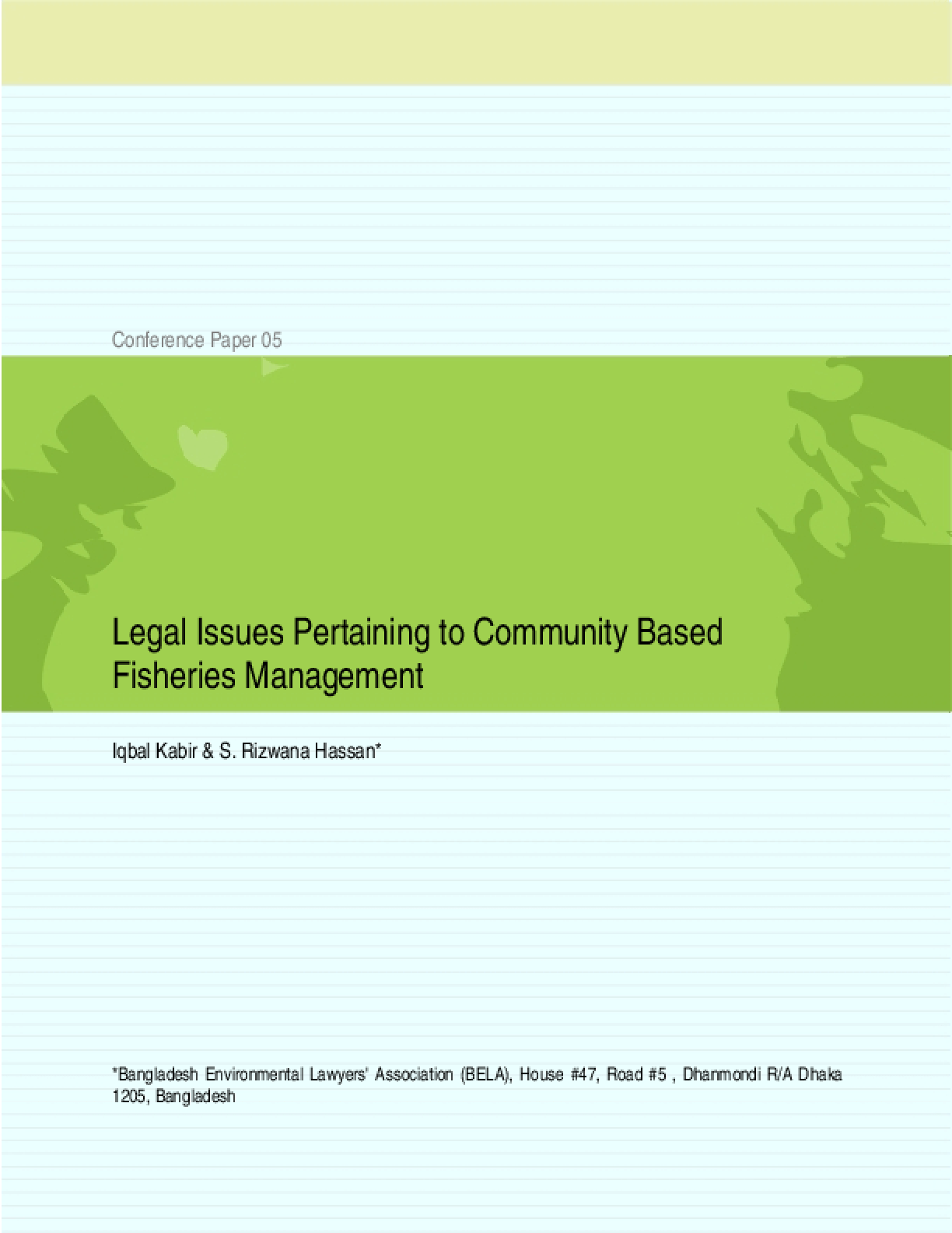 Legal Issues Pertaining to Community Based Fisheries Management