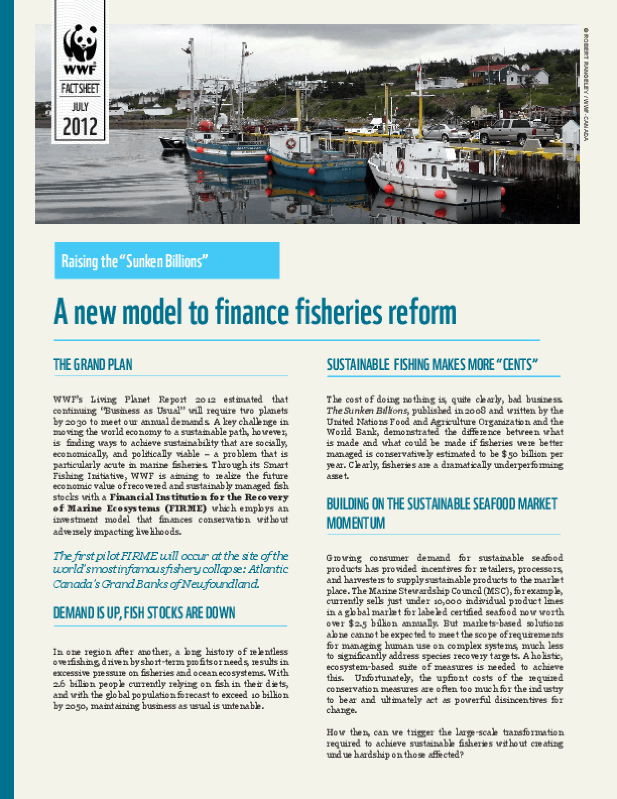 Raising the Sunken Billions: A New Model to Finance Fisheries Reform