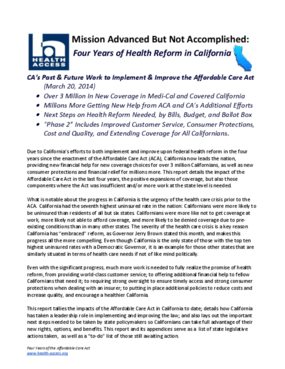 Mission Advanced but Not Accomplished: Four Years of Health Reform in California