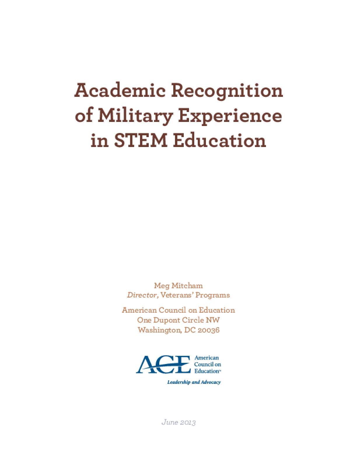 Academic Recognition of Military Experience in STEM Education