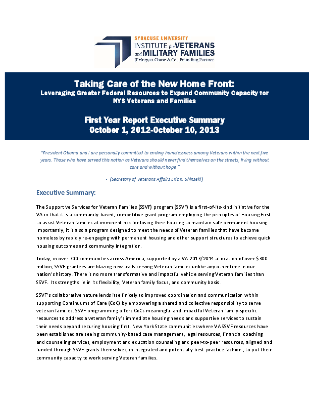 Taking Care of the New Home Front: Leveraging Greater Federal Resources to Expand Community Capacity for NYS Veterans and Families