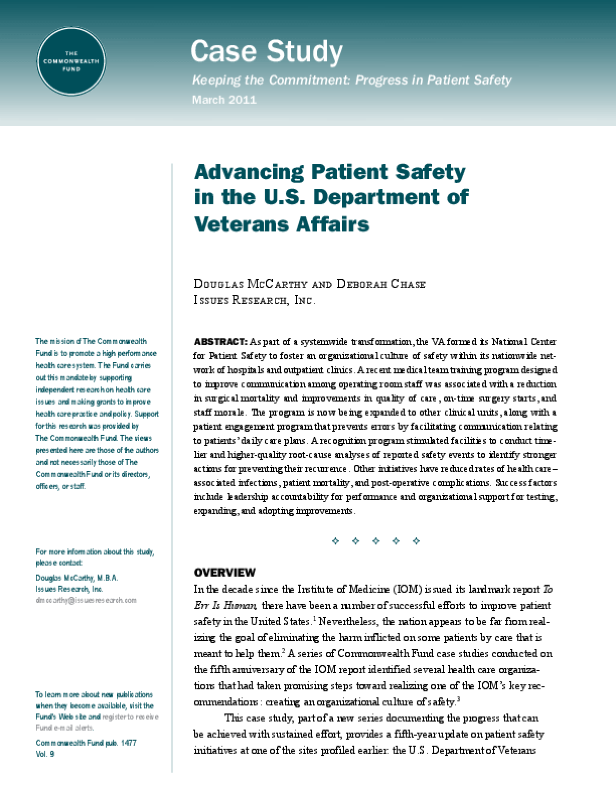 Advancing Patient Safety in the U.S. Department of Veterans Affairs