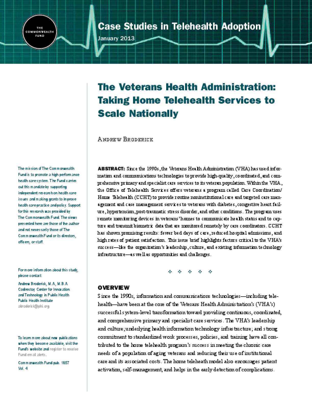 The Veterans Health Administration: Taking Home Telehealth Services to Scale Nationally