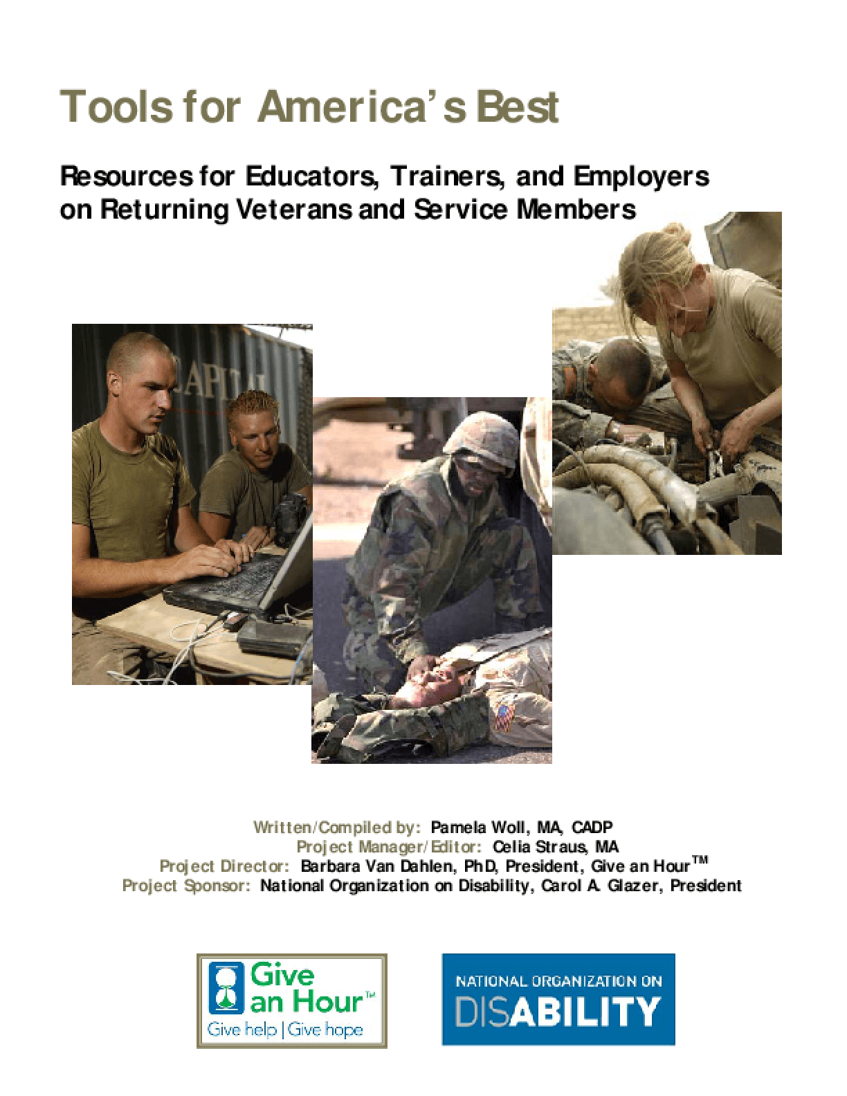 Tools for America's Best: Resources for Educators, Trainers, and Employers on Returning Veterans and Service Members