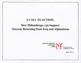 Call to Action: How Philanthropy Can Support Veterans Returning from Iraq and Afghanistan