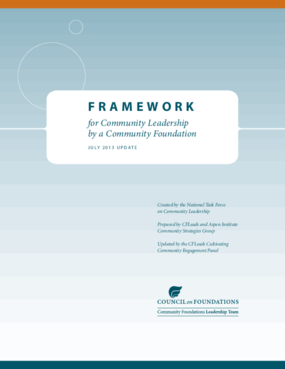 Framework for Community Leadership by a Community Foundation