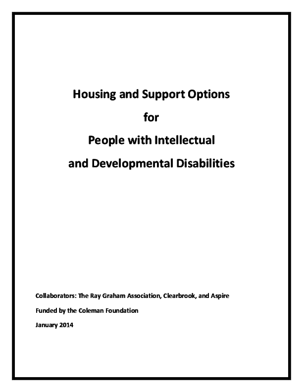 Housing and Support Options for People with Intellectual and Developmental Disabilities