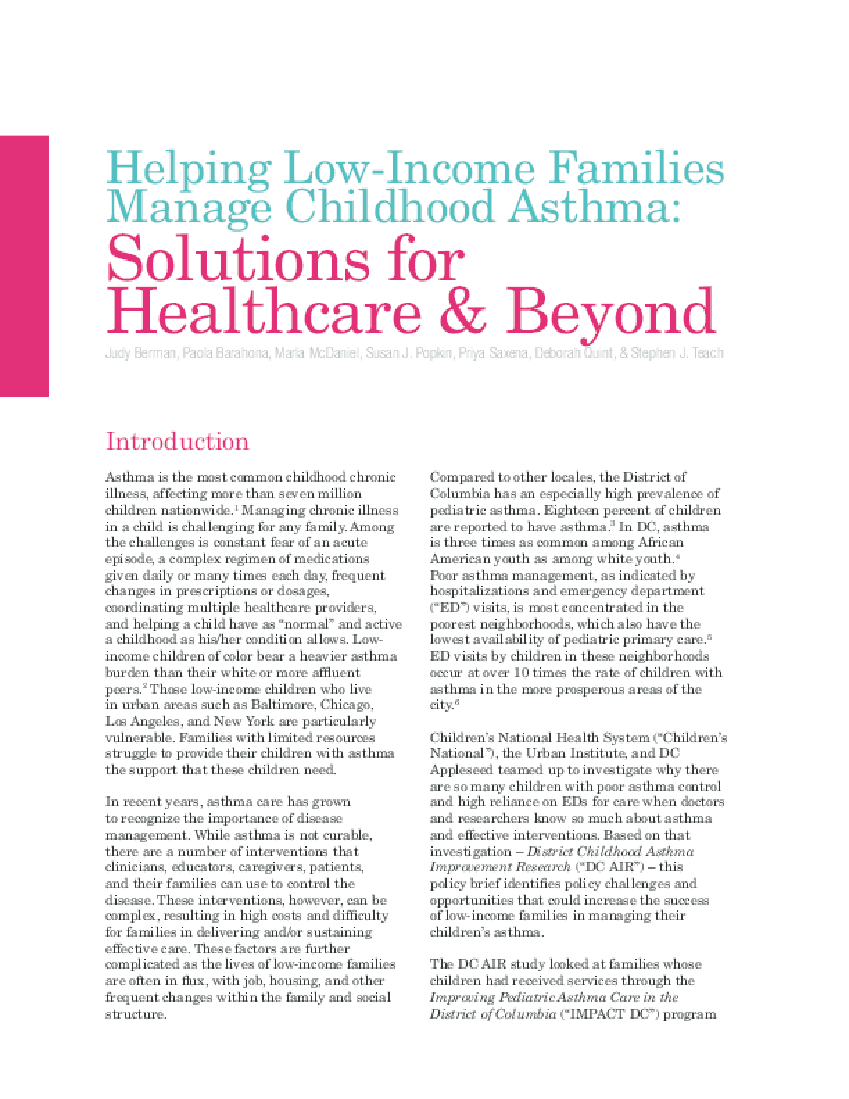 Helping Low-Income Families Manage Childhood Asthma: Solutions for Healthcare & Beyond