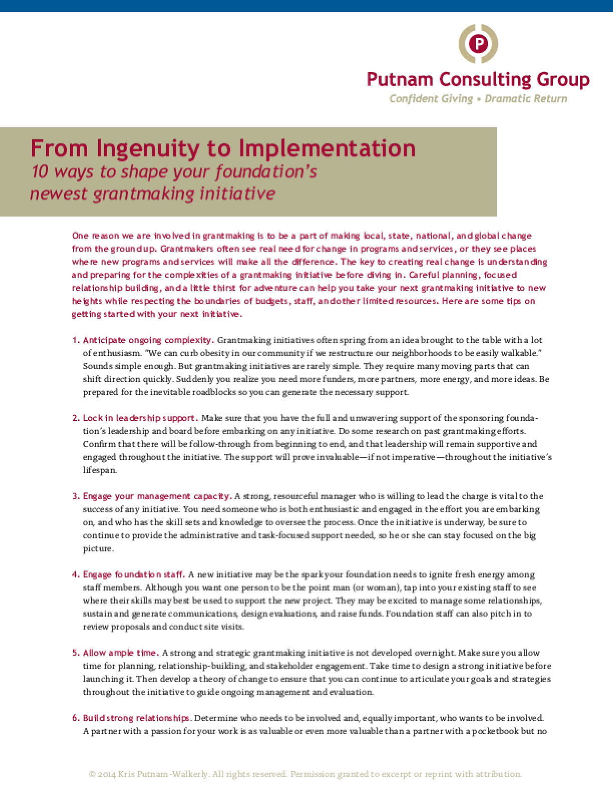 From Ingenuity to Implementation: 10 Ways To Shape Your Foundation's Newest Grantmaking Initiative