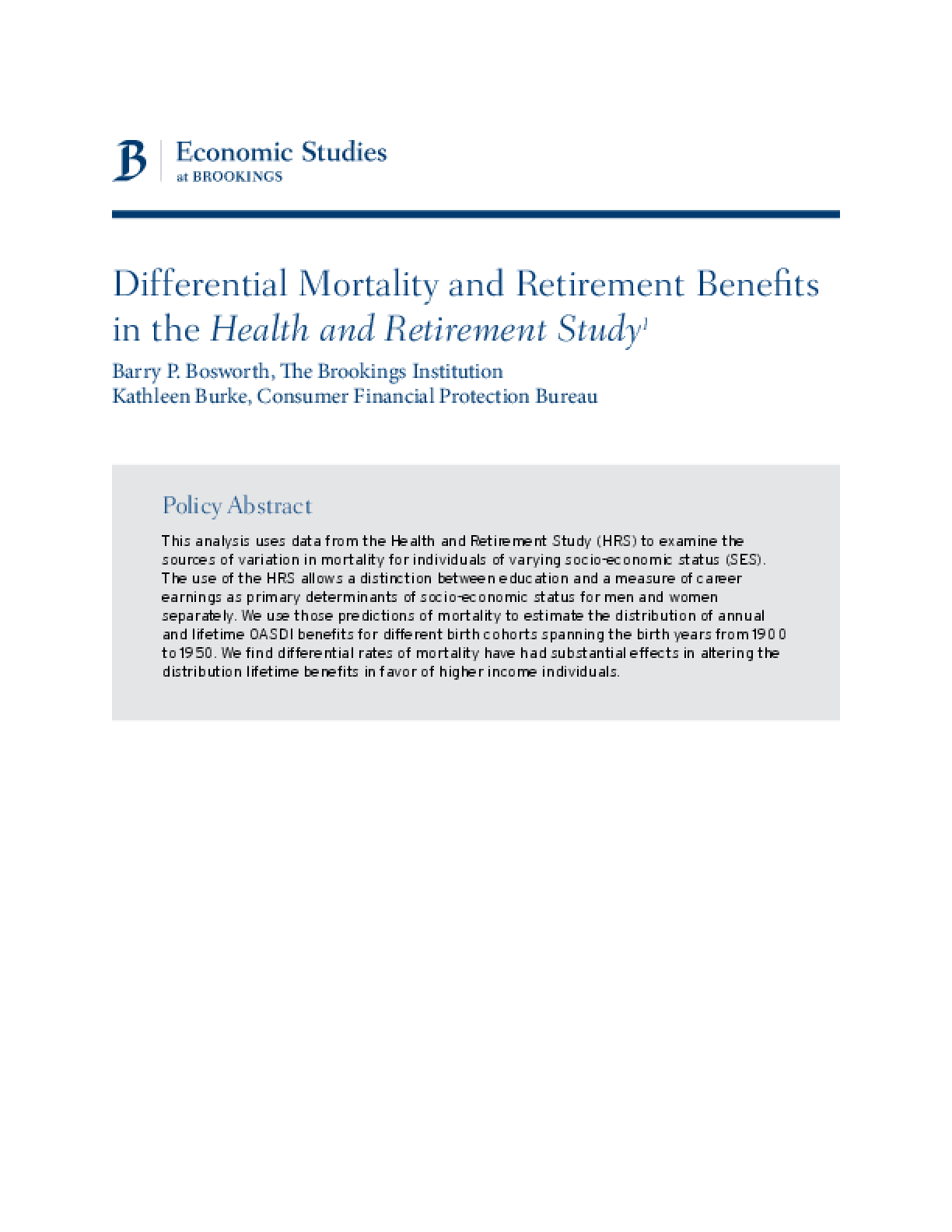 Differential Mortality and Retirement Benefits in the Health and Retirement Study