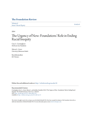 The Urgency of Now: Foundations' Role in Ending Racial Inequity