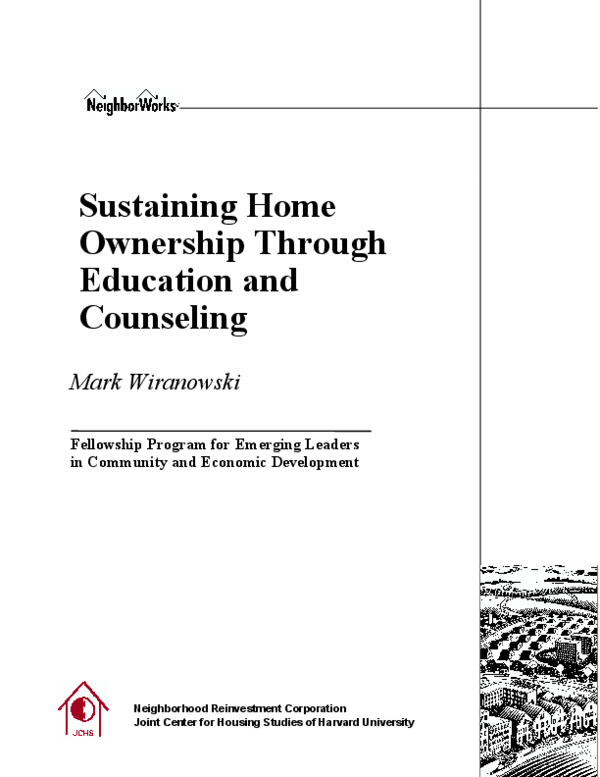 Sustaining Homeownership Through Education and Counseling
