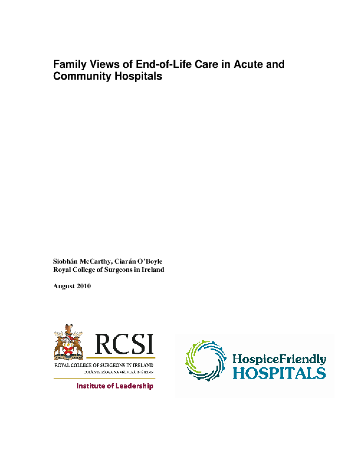 Family Views of End-of-Life Care in Acute and Community Hospitals