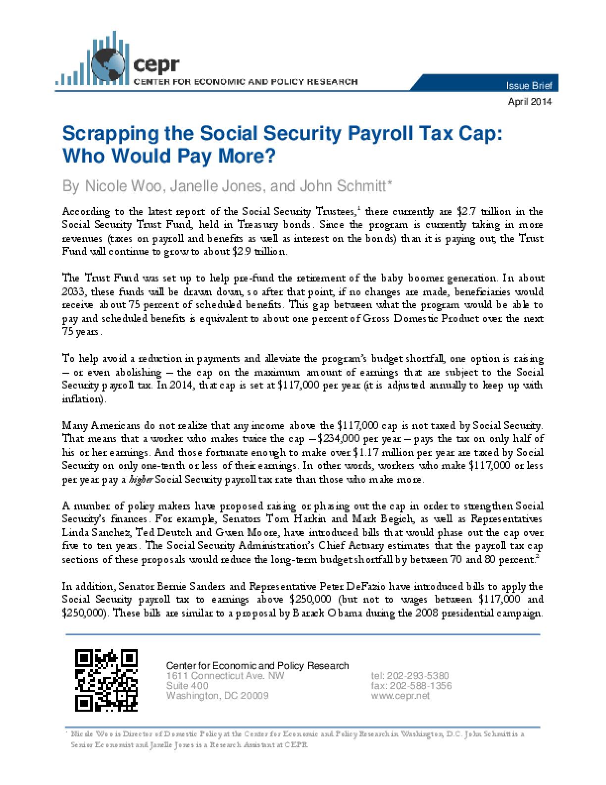 Scrapping the Social Security Payroll Tax Cap: Who Would Pay More?