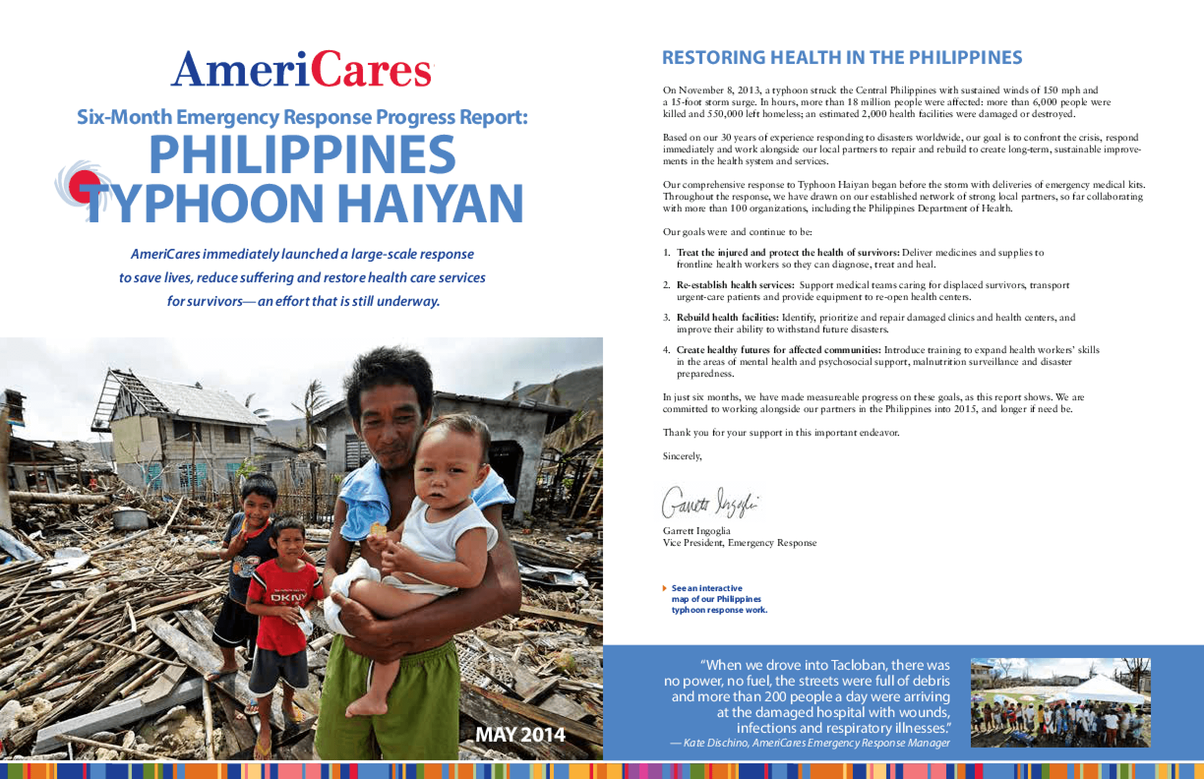 SIx-Month Emergency Response Progress Report: Philippines Typhoon Haiyan