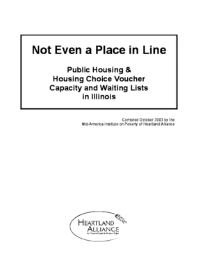 2003 Not Even a Place in Line: Public Housing and Housing Choice Voucher Capacity and Waiting Lists in Illinois
