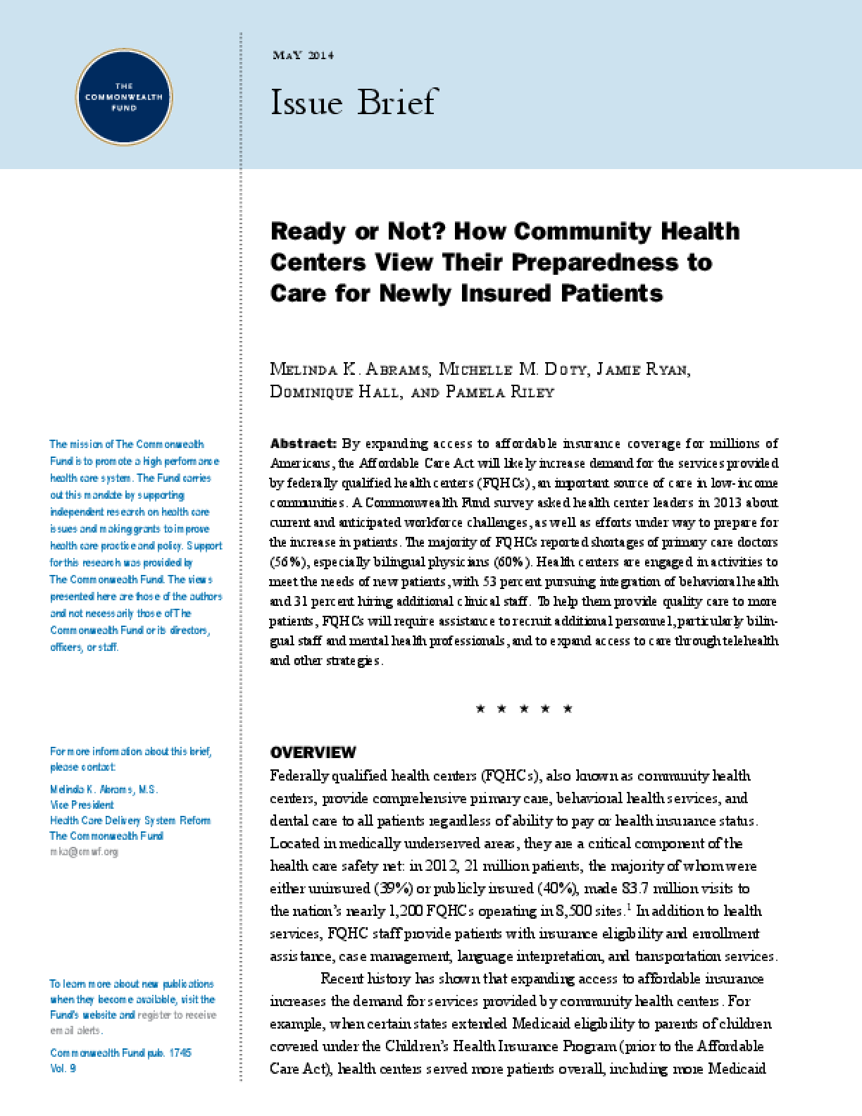 Ready or Not? How Community Health Centers View Their Preparedness to Care for Newly Insured Patients
