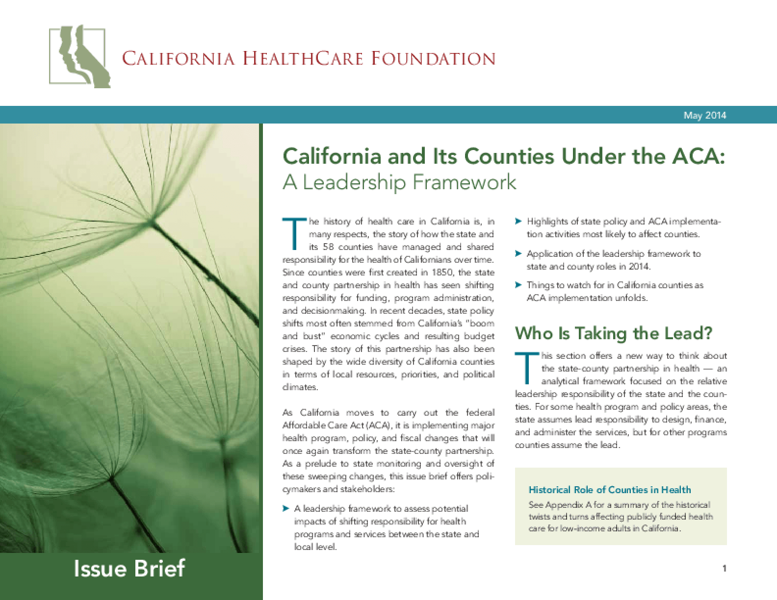 California and Its Counties Under the ACA: A Leadership Framework