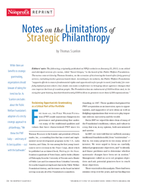 Notes on the Limitations of Strategic Philanthropy
