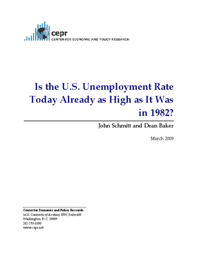 Is the U.S. Unemployment Rate Today Already as High as It Was in 1982?