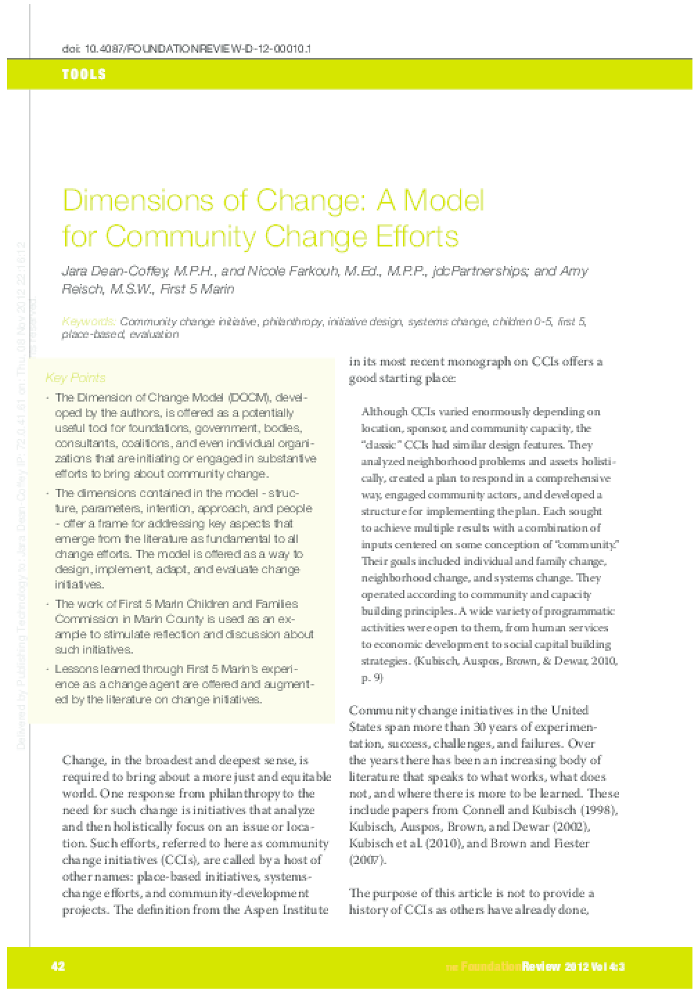 Dimensions of Change - A Model for Community Change Efforts