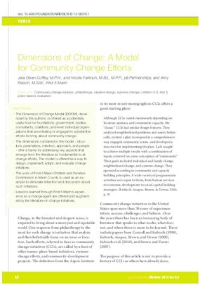 Dimensions of Change - A Model for Community Change Efforts