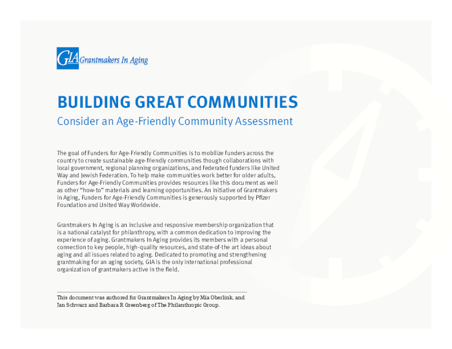 Building Great Communities: Consider an Age-Friendly Community Assessment