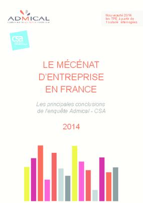 Le Mécénat d'Entreprise en France: Les Principales Conclusions de l'Enquête Admical - CSA