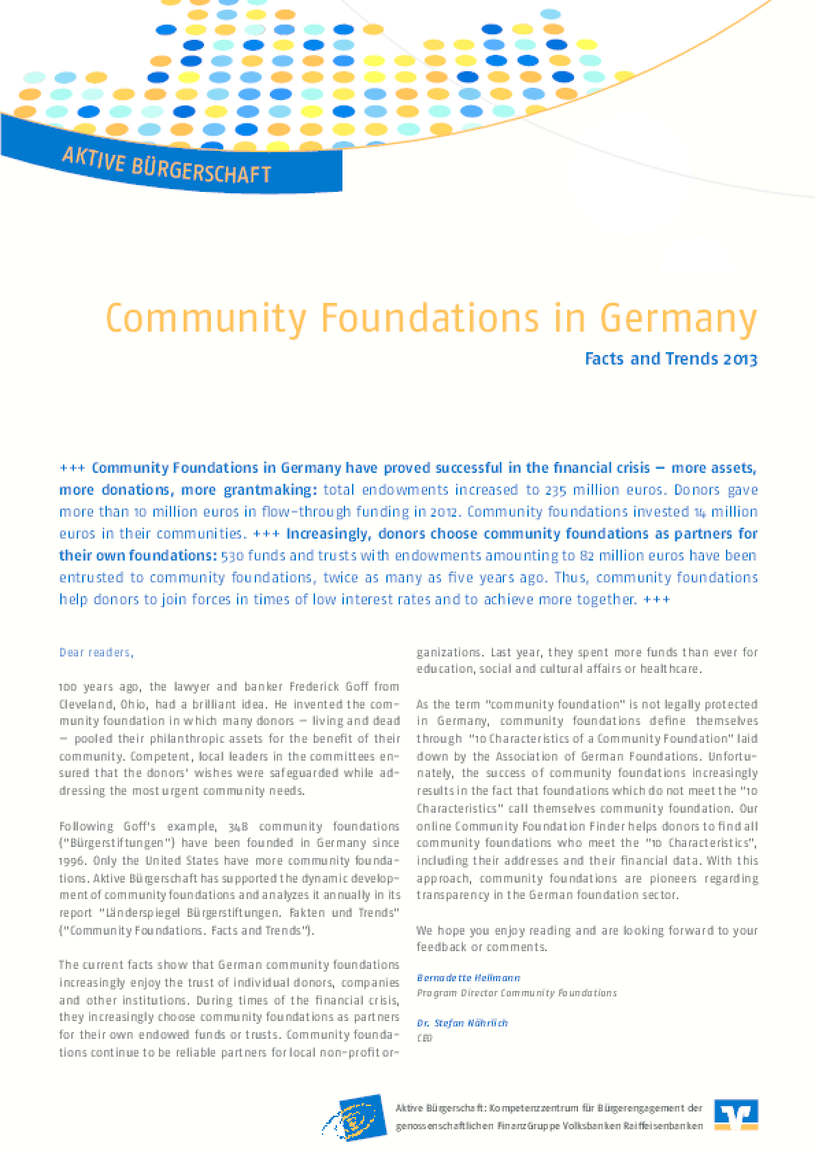 Community Foundations in Germany - Facts and Trends 2013