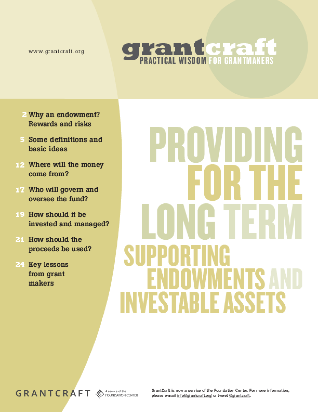 Providing for the Long Term: Supporting Endowments and Investable Assets