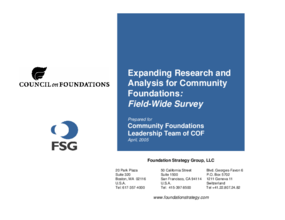 Expanding Research and Analysis for Community Foundations - A Field-Wide Study