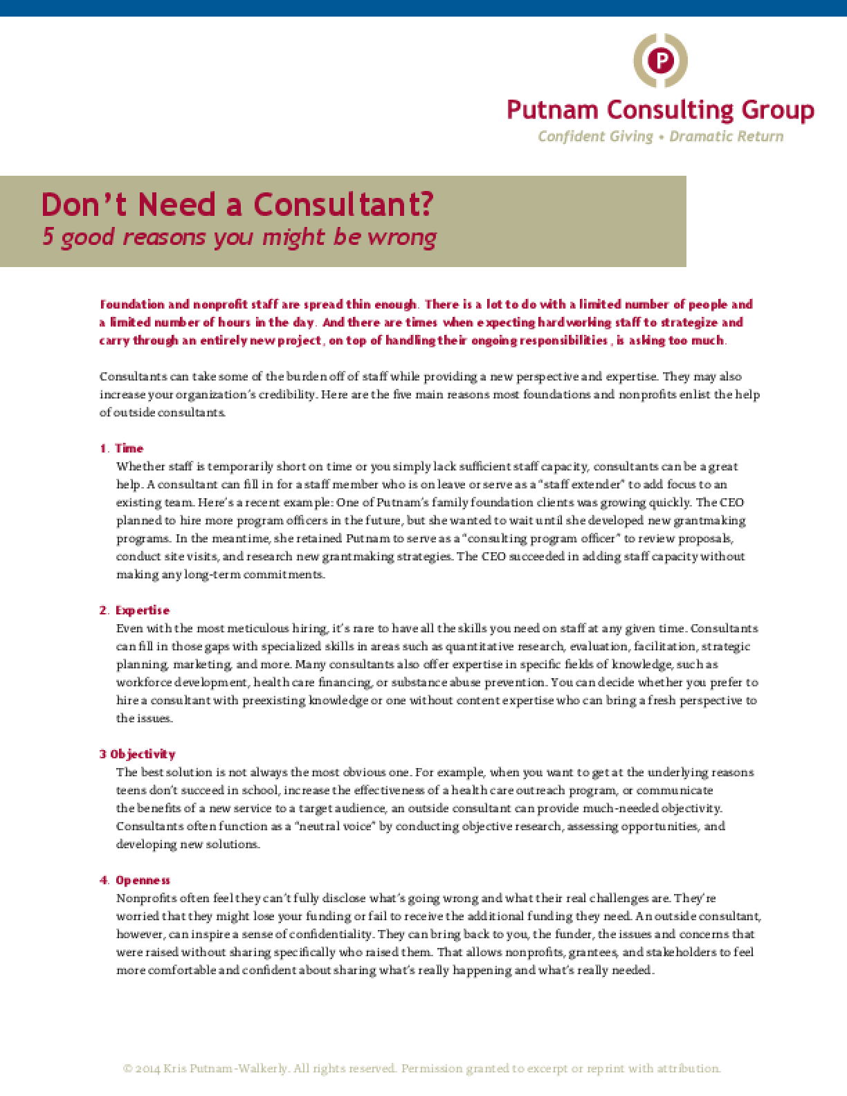 Don't Need a Consultant?: 5 Good Reasons You Might Be Wrong