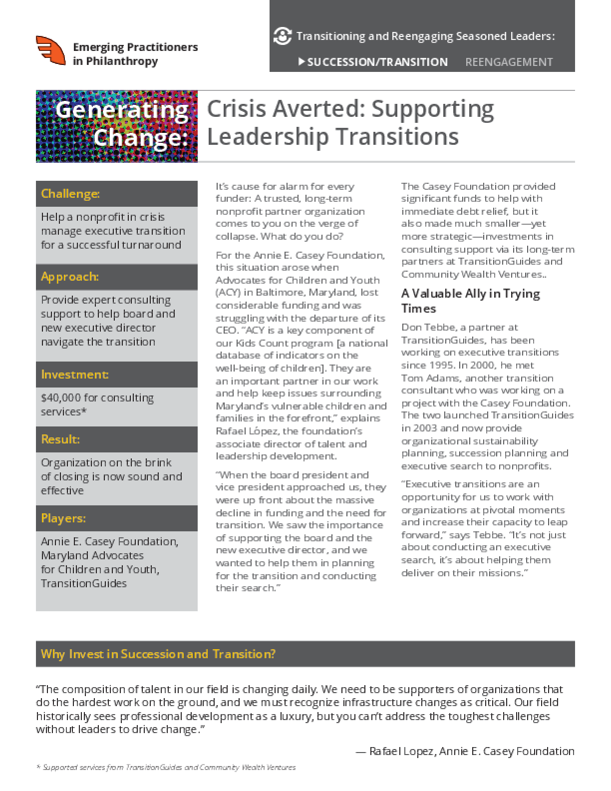 Generating Change: Crisis Averted: Supporting Leadership Transitions