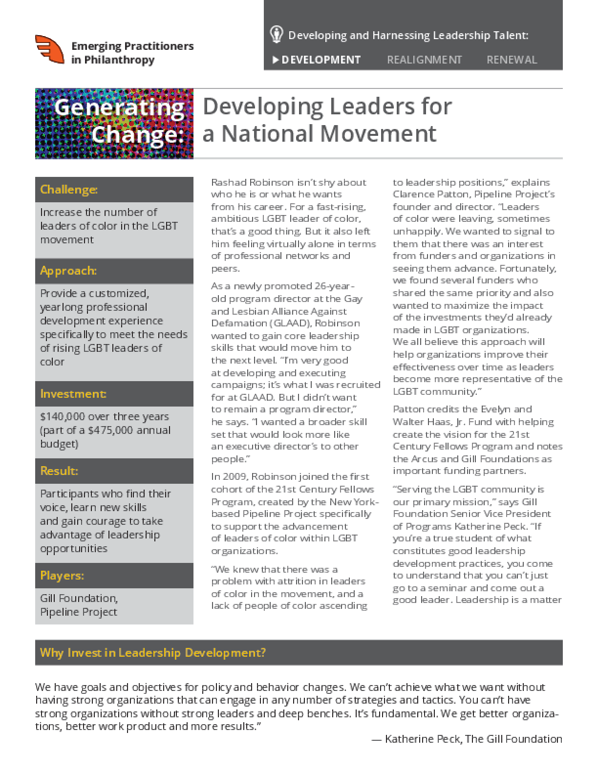 Generating Change: Developing Leaders for a National Movement
