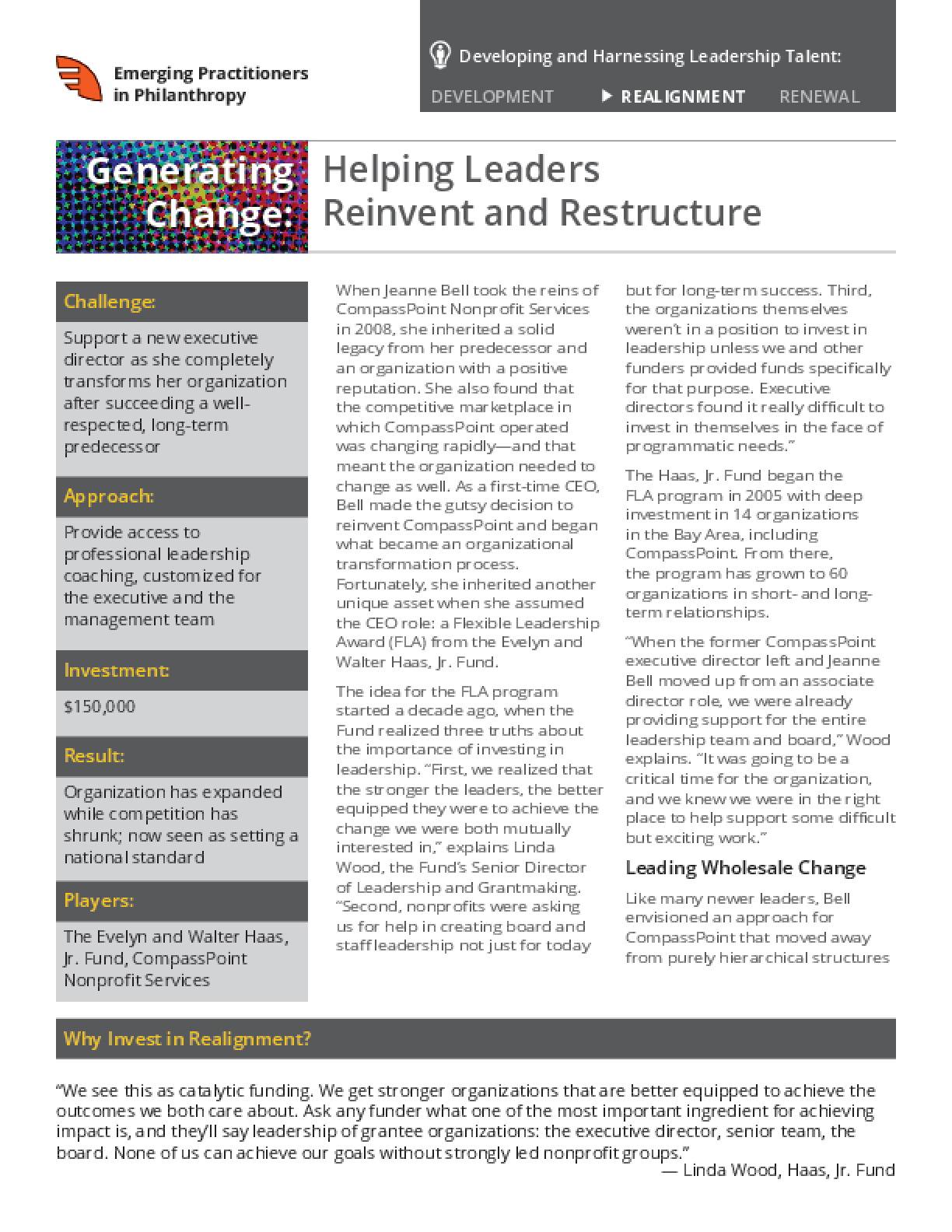 Generating Change: Helping Leaders Reinvent and Restructure