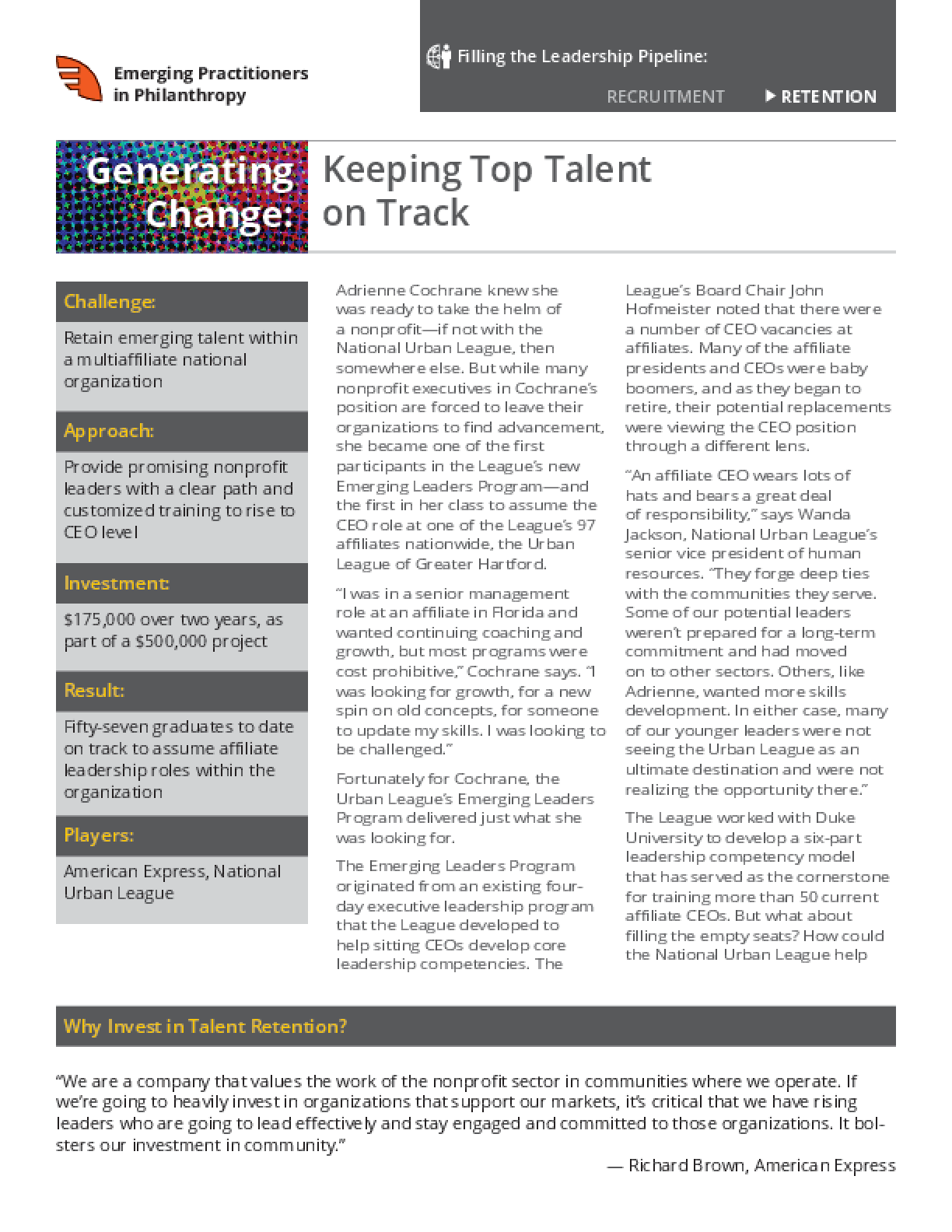 Generating Change: Keeping Top Talent on Track
